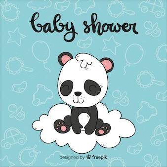 Composition de douche de bébé belle dessiné à la main