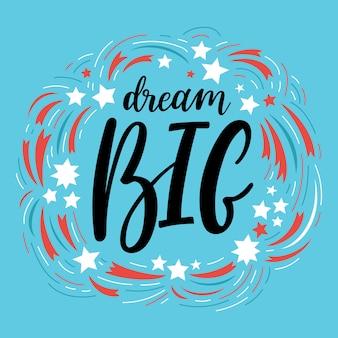 Composition de dream big lettering avec étoiles
