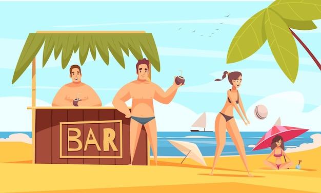 Composition du bar de plage avec paysage de la côte de la mer d'été et stand de tente avec boissons fraîches et personnes