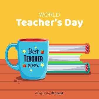 Composition du jour de l'enseignant wolrd avec design plat