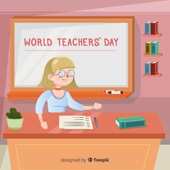 Composition du jour des enseignants du monde coloré avec un design plat