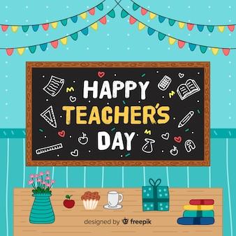 Composition du jour des enseignants du monde avec style dessiné à la main