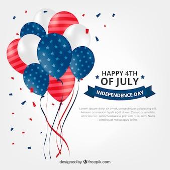 Composition du jour de l'indépendance des états-unis avec des ballons 2d