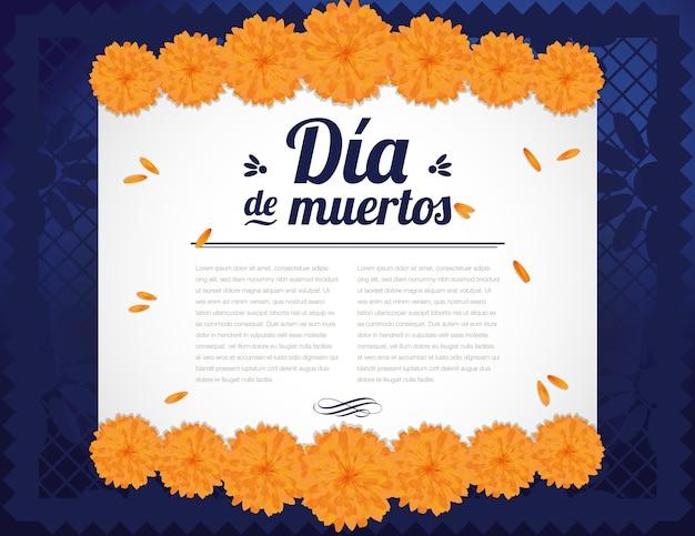 Composition du jour des morts avec des fleurs de souci - espace copie