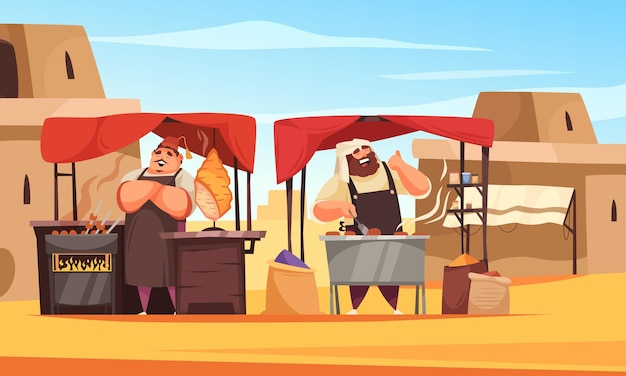 Composition du marché oriental en plein air avec des turcs et des arabes debout sous les auvents voisins faisant la promotion de leur dessin animé de plats nationaux