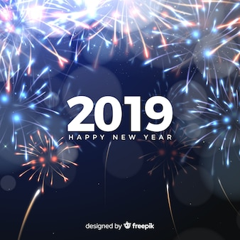 Composition du nouvel an 2019 avec feux d'artifice