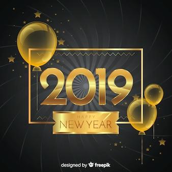 Composition du nouvel an 2019 avec style doré