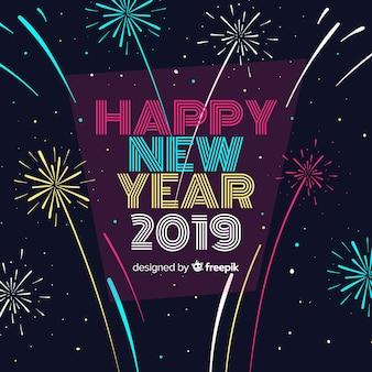 Composition du nouvel an avec un design plat