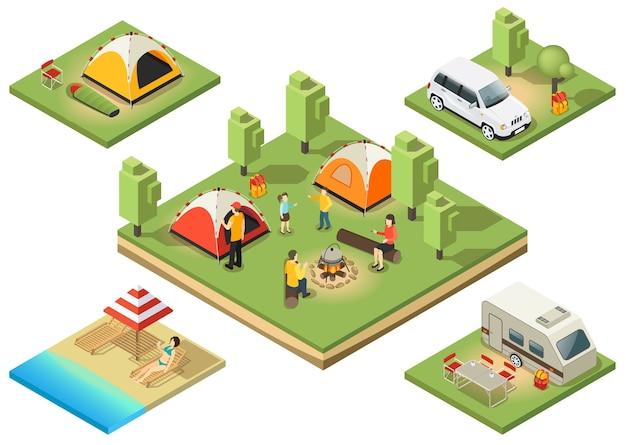 Composition du territoire de camping isométrique