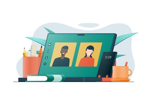 Composition du travail lors d'une conférence téléphonique sur ordinateur portable réunion d'affaires par appel vidéo