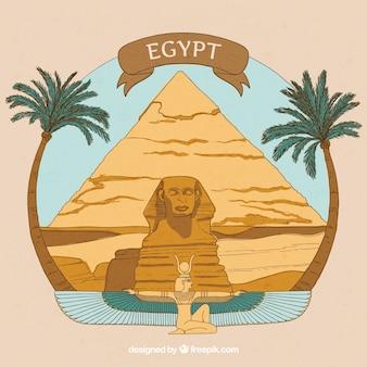 Composition de l'egypte ancienne dessinée à la main