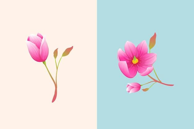 Composition élégante de magnolia de luxe ou de fleurs roses. branches dessinées à la main de style aquarelle.