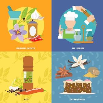Composition d'éléments d'épices à plat