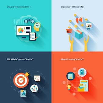 Composition d'éléments plats marketer sertie d'illustration vectorielle de marketing recherche produit produit gestion stratégique de la marque isolée