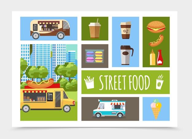 Composition d'éléments plats de nourriture de rue