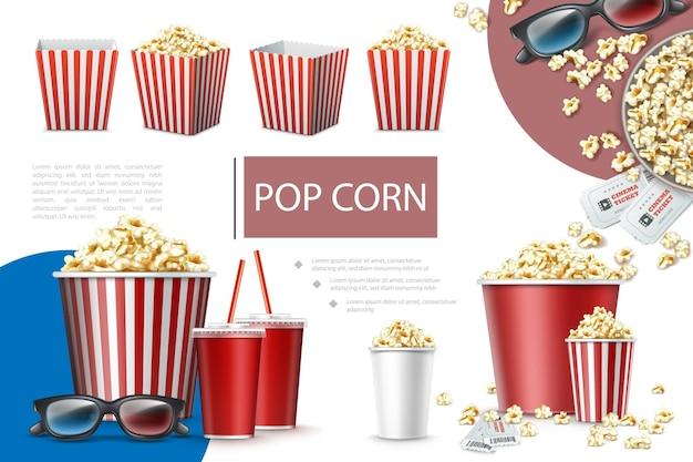 Composition d'éléments de pop-corn réaliste avec des sacs en papier et des seaux de tasses de soda pop-corn, billets de cinéma et lunettes 3d