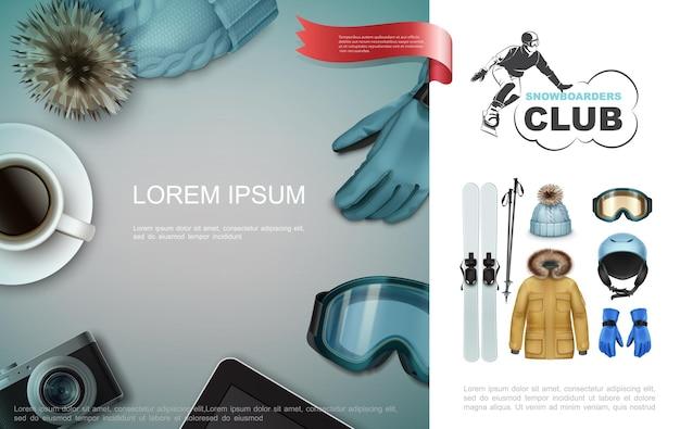 Composition d'éléments de vacances d'hiver réalistes avec chapeau gant tasse de café caméra tablette équipement de sport
