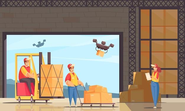 Composition de l'entrepôt de livraison avec des personnages humains de style doodle et des drones quadricoptères avec illustration de boîtes à colis
