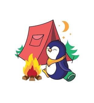 La Composition Est Un Style De Camping Dans Les Bois. Vecteur Premium