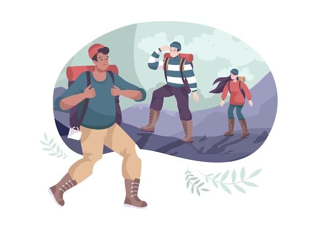 Composition extérieure de dessin animé avec un groupe de randonneurs portant des sacs à dos