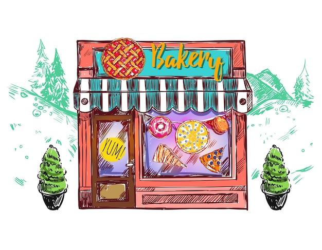 Composition de fenêtres de café de boulangerie