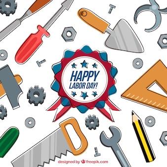 Composition de la fête du travail avec des outils dessinés à la main