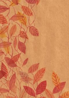 Composition de feuilles sur papier brun aquarelle
