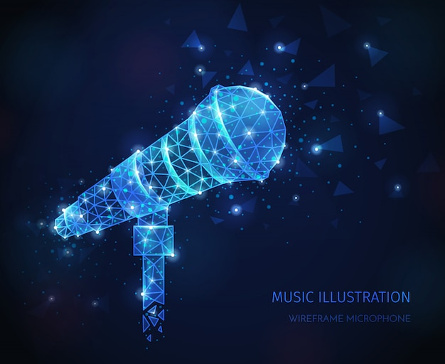 Composition filaire polygonale de médias musicaux avec texte et image scintillante de microphone vocal professionnel sur support