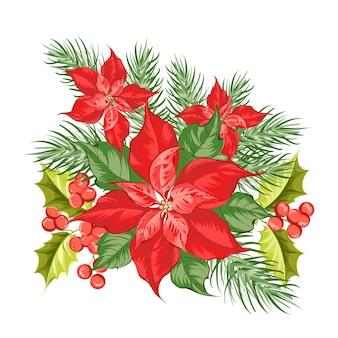 Composition de fleur de poinsettia rouge isolé sur fond blanc.