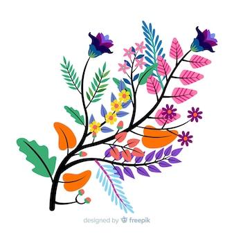 Composition avec des fleurs et des branches de fleurs colorées