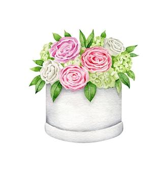 Composition de fleurs dans une boîte en papier bouquet aquarelle