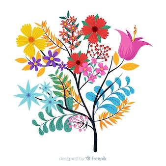 Composition avec des fleurs en fleurs et des branches dans une palette colorée