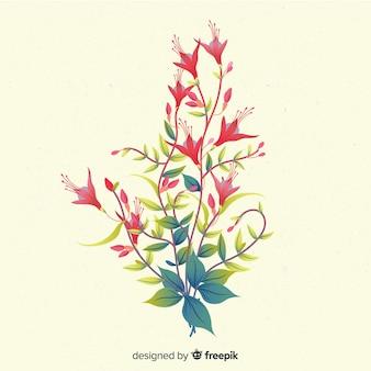Composition avec des fleurs en fleurs et des branches dans les tons rouges