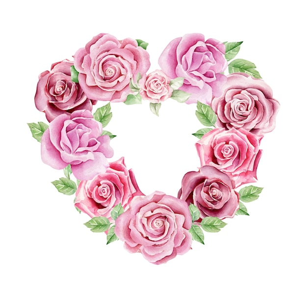 Composition de fleurs en forme de coeur aquarelle