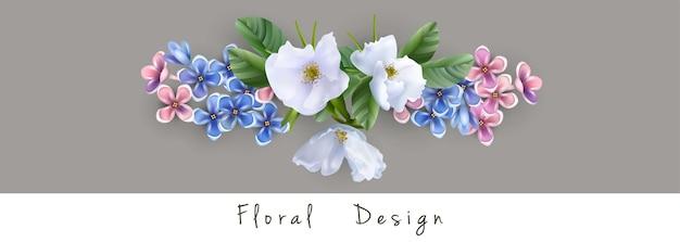 Composition florale de fleurs blanches bleues et roses