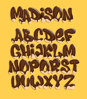Composition de fonte de chocolat, alphabet sucré, illustration.