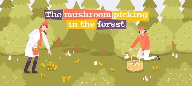 Composition de forêt de gens de champignons avec paysage extérieur et personnages humains à la recherche de champignons