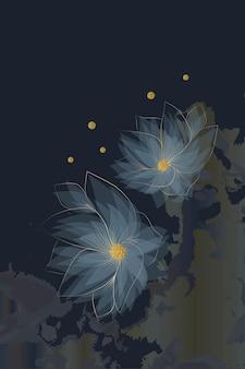 Composition de formes abstraites fleurs texture or hiver fond minimalisme dessinés à la main