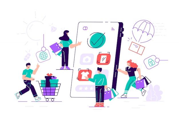Composition avec une foule de clients fous ou accros du shopping transportant des paniers d'achat, des sacs et des boîtes et une tablette pc géante. vente en ligne ou boutique en ligne. illustration plate moderne