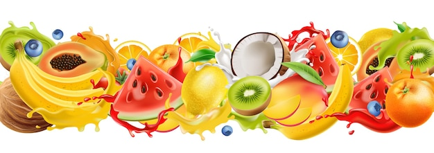 Composition de fruits tropicaux éclaboussant dans le jus qui coule. pastèque, orange, noix de coco, kiwi, mangue, banane, myrtilles. réaliste