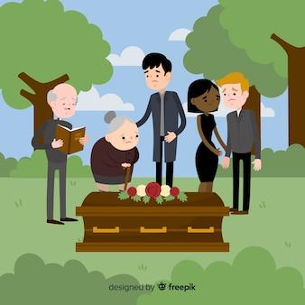 Composition funéraire élégante avec un design plat