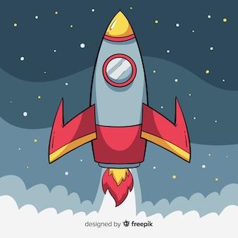 Composition de fusée de l'espace dessiné main belle