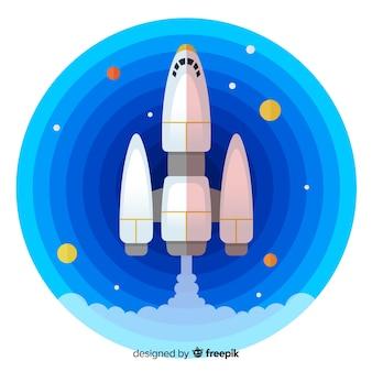Composition de fusée moderne au design plat