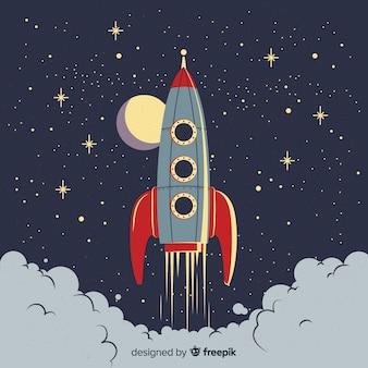 Composition de fusée spatiale classique avec style vintage