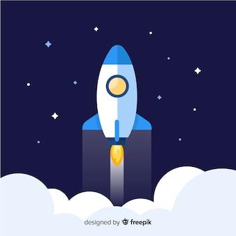 Composition de fusée spatiale colorée avec un design plat