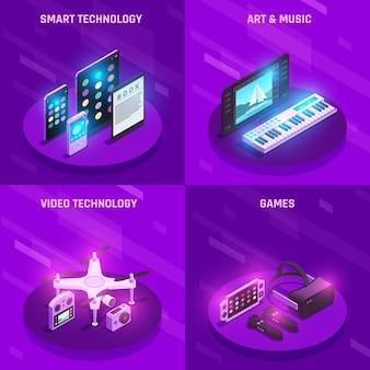 Composition de gadgets de technologie électronique intelligente 4 icônes isométriques avec des appareils de lecture de jeux de musique violet
