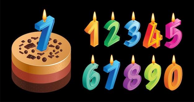 Composition de gâteau d'anniversaire avec bougies