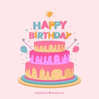Composition de gâteau d'anniversaire avec un design plat