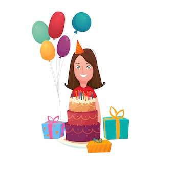 Composition de gâteau d'anniversaire fille
