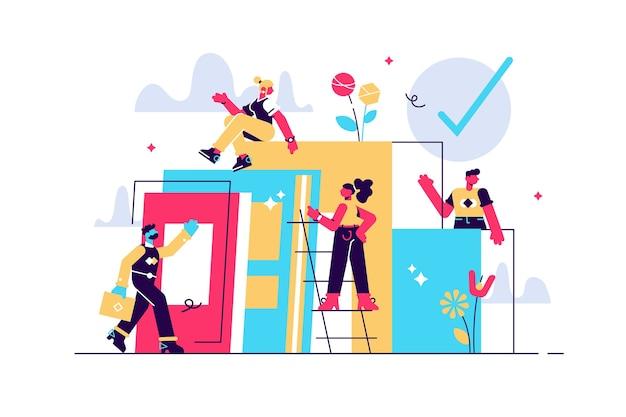 Composition avec un groupe de managers, employés ou employés de bureau qui grimpent ensemble et se soutiennent mutuellement